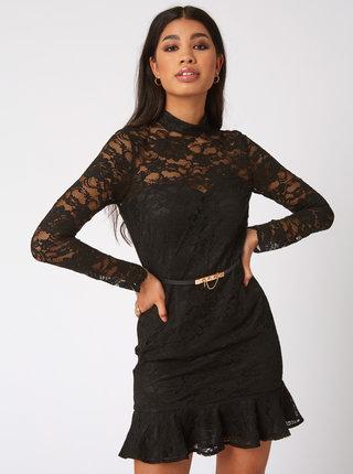 Čierne púzdrové krajkové šaty Paper Dolls