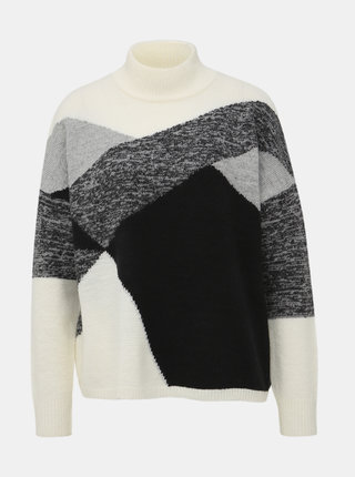 Bílo-šedý vzorovaný svetr Dorothy Perkins