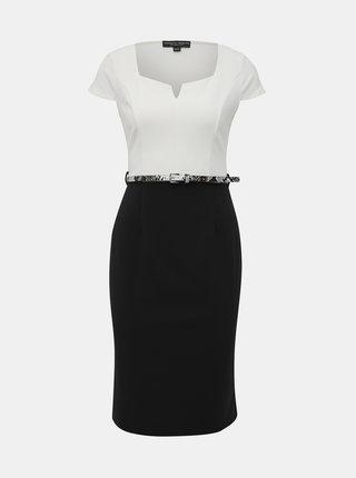 Černo-bílé pouzdrové šaty s páskem Dorothy Perkins