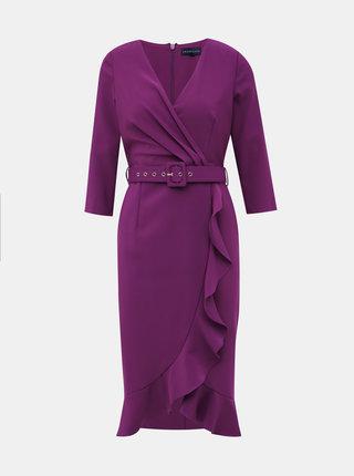 Fialové púzdrové šaty s volánom Dorothy Perkins