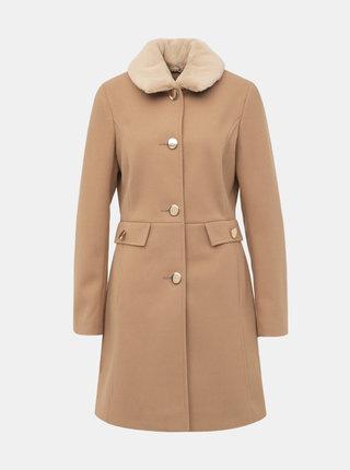 Svetlohnedý kabát s odnímateľným límcom z umelej kožušiny Dorothy Perkins