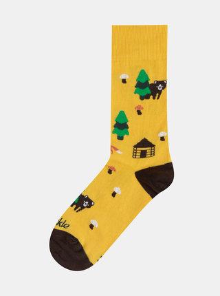 Hořčicové vzorované ponožky Fusakle Na lazoch
