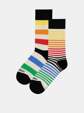 Krémové pruhované ponožky Fusakle Extrovert farebny