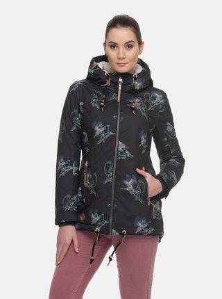 Černá dámská vzorovaná nepromokavá zimní bunda Ragwear Zuzka