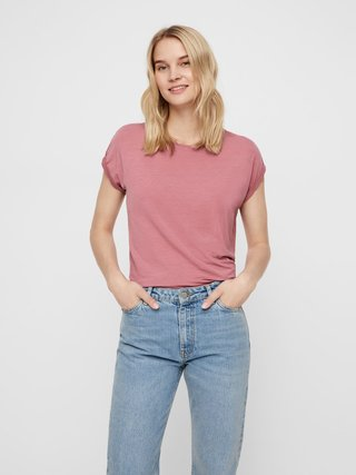 Starorůžové basic tričko AWARE by VERO MODA Ava
