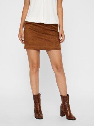 Hnedá sukňa v semišovej úprave VERO MODA Donna Dina