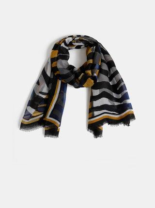 Hořčicovo-šedý vzorovaný šátek M&Co