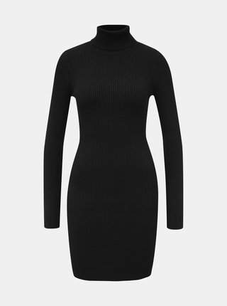 Čierne svetrové šaty s rolákom Miss Selfridge