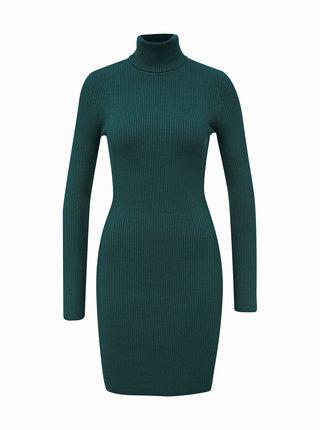 Zelené svetrové šaty s rolákem Miss Selfridge