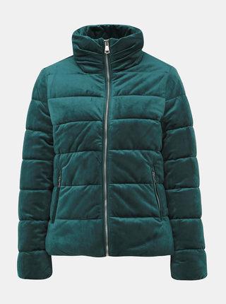 Tmavozelená dámska sametová prešívaná zimná bunda Haily´s Velvet