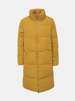 Hořčicový zimní prošívaný kabát Jacqueline de Yong Erica