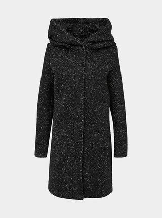 Čierny žíhaný kabát s prímesou vlny VILA Cania