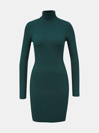 Zelené svetrové šaty s rolákom Miss Selfridge