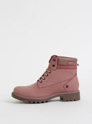 Rúžové dámske semišové kotníkové topánky Wrangler