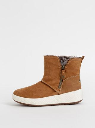 Hnedé dámske zimné kotníkové topánky v semišovej úprave Wrangler