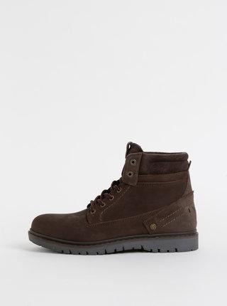 Tmavě hnědé pánské kožené kotníkové boty Wrangler