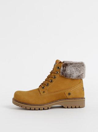 Hnedé dámske kožené kotníkové topánky Wrangler