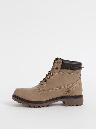 Béžové dámske semišové kotníkové topánky Wrangler