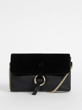 Čierna kožená crossbody kabelka Pieces Ilva