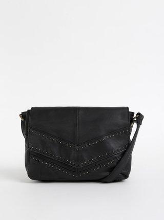 Čierna kožená crossbody kabelka Pieces Hellen
