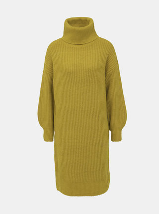 Zelené svetrové šaty s rolákom Noisy May Robina