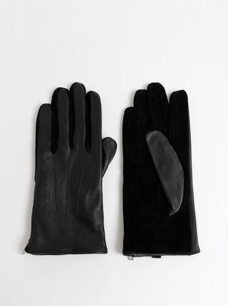 Čierne kožené rukavice so semišovou spodnou časťou Pieces Charper