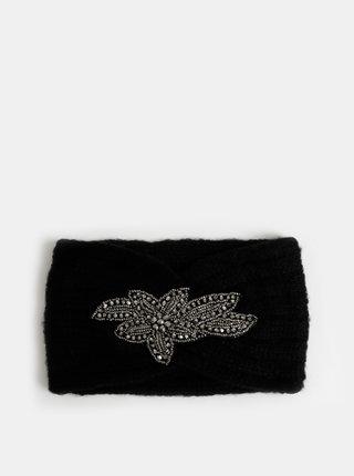 Čierna čelenka s ozdobou v striebornej farbe Pieces Hanja