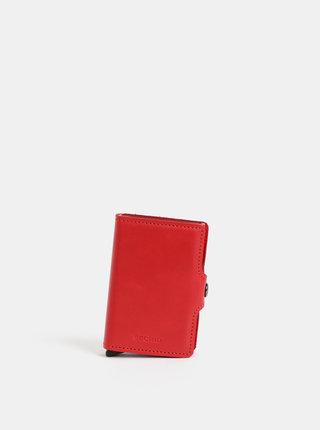 Červená kožená peňaženka s hliníkovými púzdrami Secrid Twinwallet