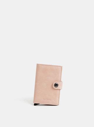 Rúžová kožená peňaženka s hliníkovým púzdrom Secrid Miniwallet