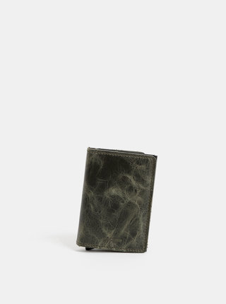 Tmavozelená kožená peňaženka s hliníkovým púzdrom Secrid Miniwallet