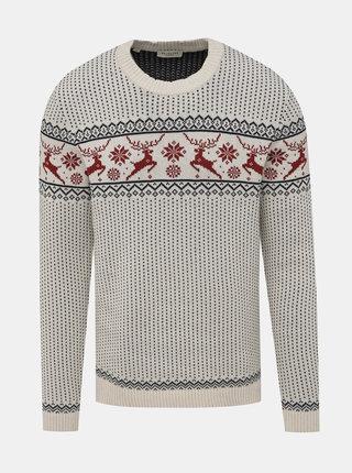 Biely vzorovaný sveter Selected Homme Deer