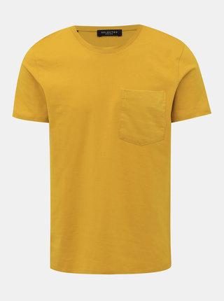 Horčicové basic tričko Selected Homme Vance