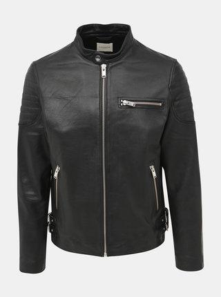Černá kožená bunda Selected Homme Rudy