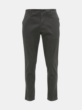 Tmavošedé vzorované chino nohavice Selected Homme Slim