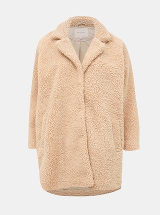 Béžový kabát z umelej kožušiny ONLY CARMAKOMA Aurelia