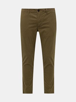 Hnědé vzorované chino kalhoty Selected Homme Slim
