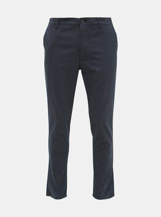 Tmavomodré vzorované chino nohavice Selected Homme Slim