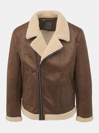 Hnedá koženková zimná bunda ONLY & SONS Benno
