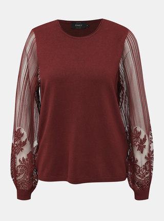 Vínový sveter s krajkou ONLY Lacey