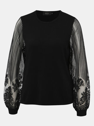 Čierny sveter s krajkou ONLY Lacey