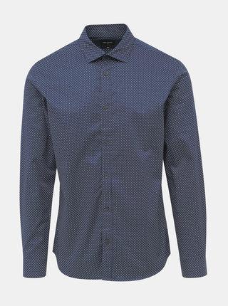 Tmavomodrá vzorovaná slim fit košeľa ONLY & SONS Alves