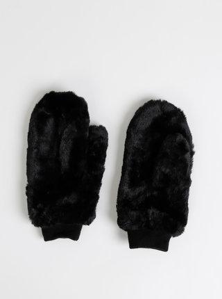 Černé palčáky z umělé kožešiny ONLY Furry