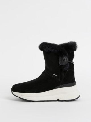 Čierne dámske semišové zimné kotníkové topánky Geox Backsie