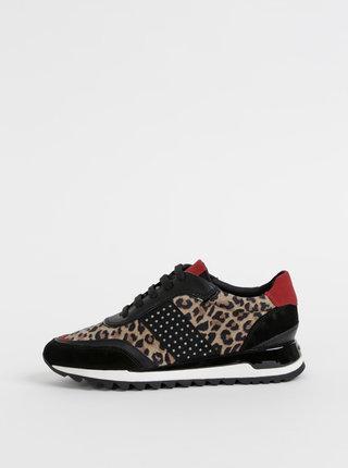 Béžovo-čierne dámske kožené tenisky s leopardím vzorom Geox Tabelya