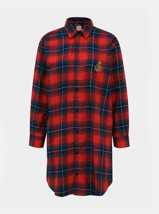 Červená dámska kockovaná nočná košeľa Lauren Ralph Lauren
