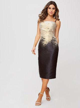 Púzdrové šaty v zlato-čiernej farbe Little Mistress