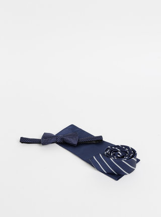 Sada tmavě modré kravaty, motýlku a kapesníčku Jack & Jones Tristan