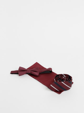 Sada vínové kravaty, motýlku a kapesníčku Jack & Jones Tristan