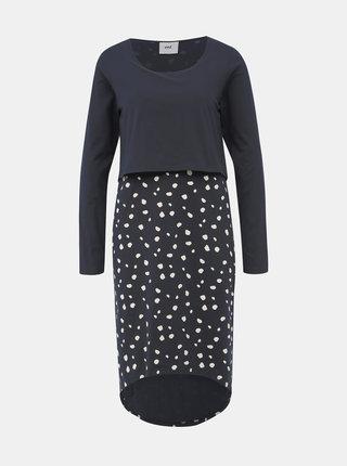 Tmavomodré bodkované šaty na dojčenie Mama.licious Arianna