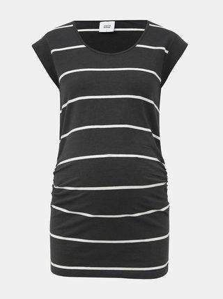Tmavošedé pruhované basic tehotenské tričko Mama.licious Ally